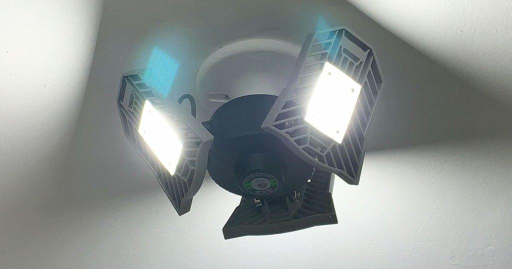 3 panel LED garage light on ceiling