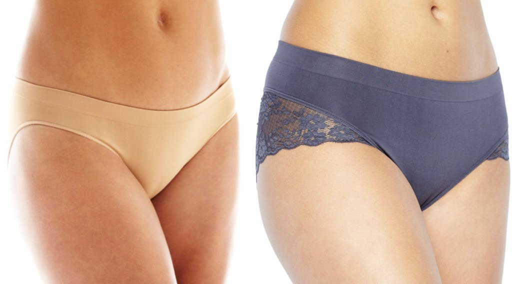 two women in nude and blue panties