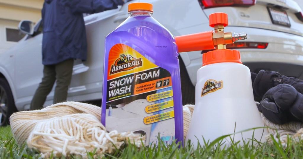 armor all snow foam jug sitting outside
