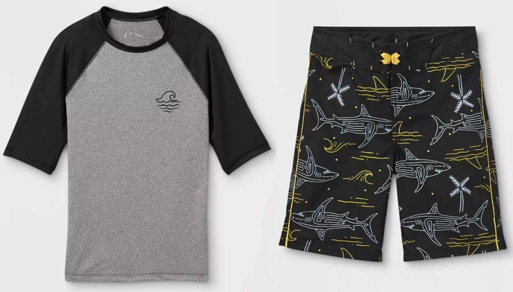 boys grey and black rash guard and swim shorts