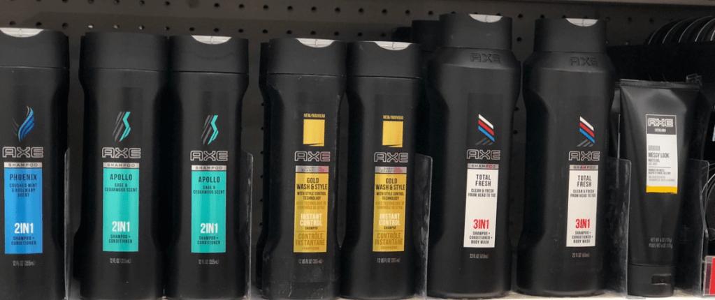 row of Axe haircare on a shelf