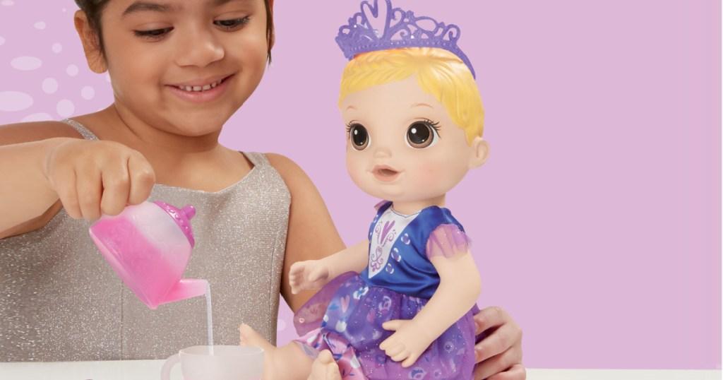 Baby Alive Tea n Sparkles Doll & Color Changing Tea Set Bundle