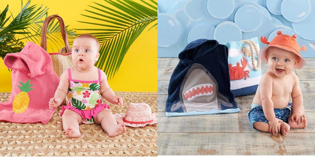 two tropical themed baby gift sets