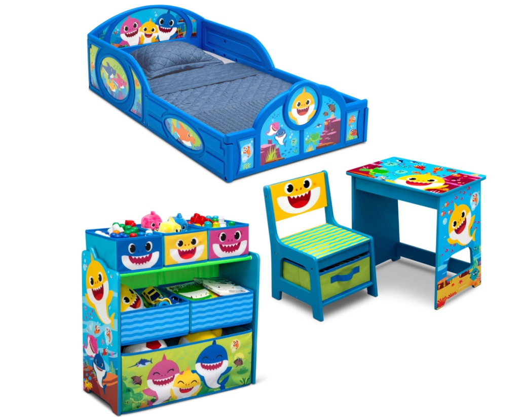Baby shark themed kids furniture bedroom set