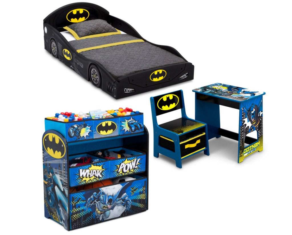 Several furniture items in a batman theme