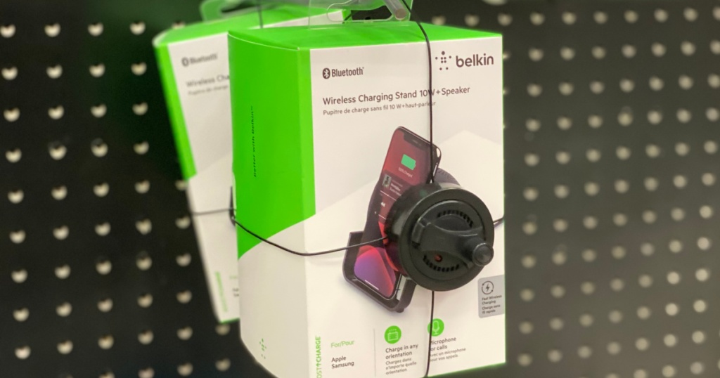 wireless phone charging stand on shelf