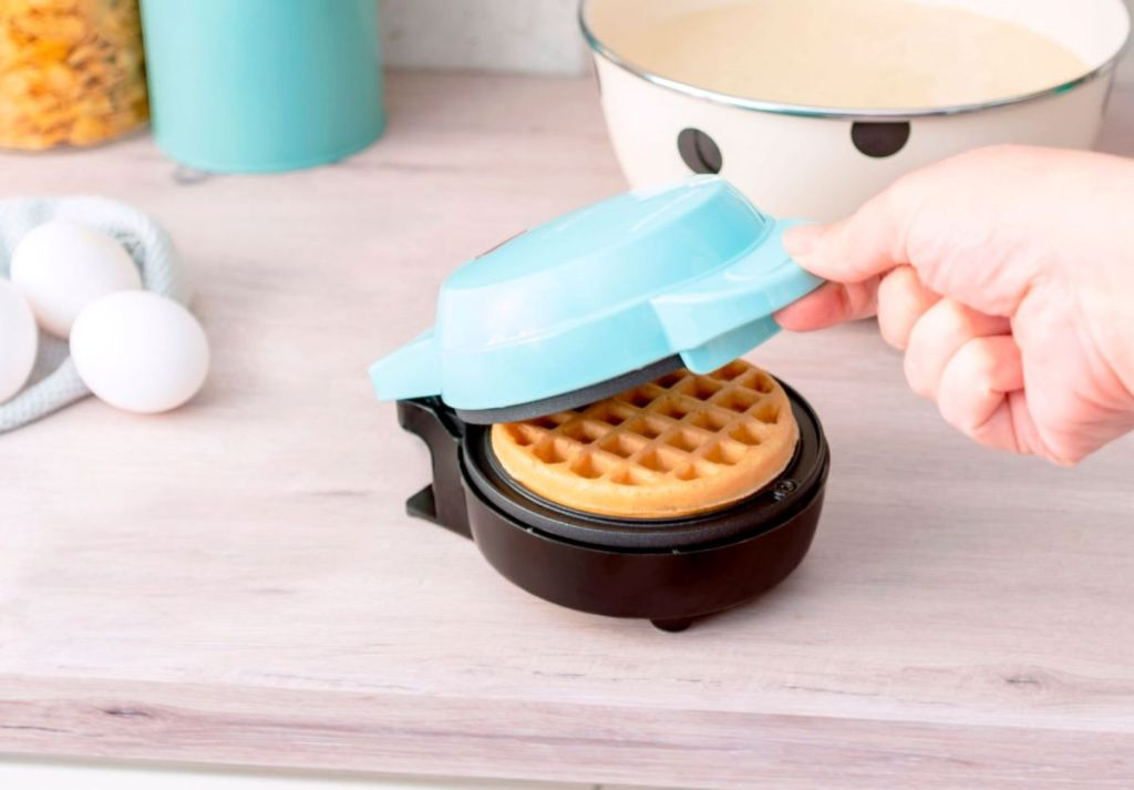 mini waffle maker with a waffle in it