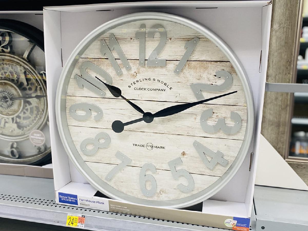 farmhouse style wall clock on store shelf display