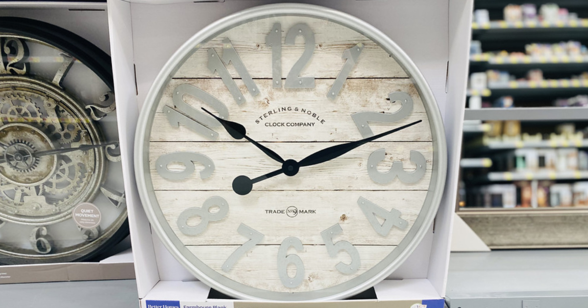 farmhouse style wall clock in packaging at walmart store