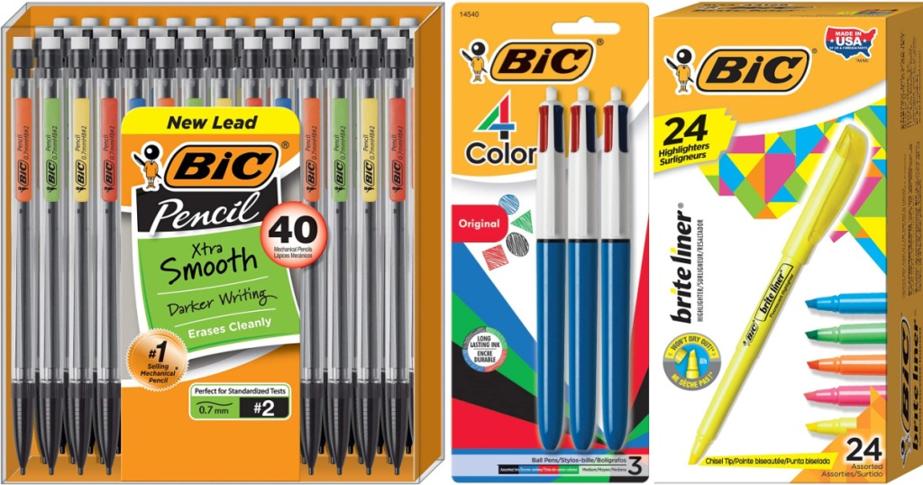 bic highlighters and pencils