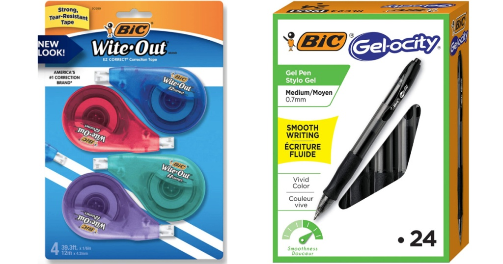 bic white out and pens