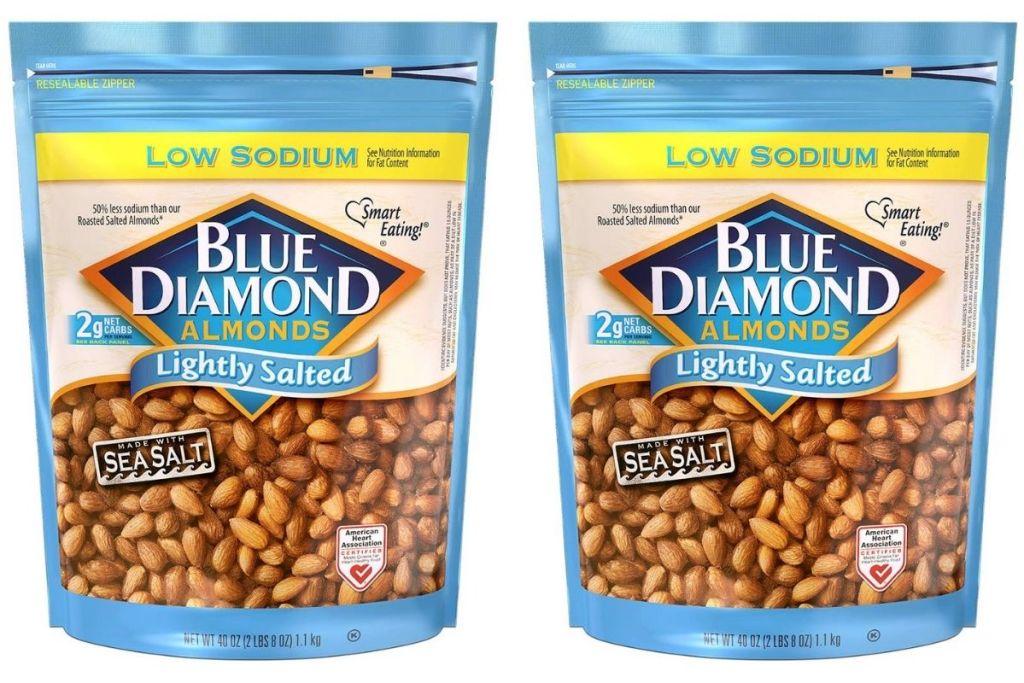 2 bags Blue DIamond Almonds Lightly Salted