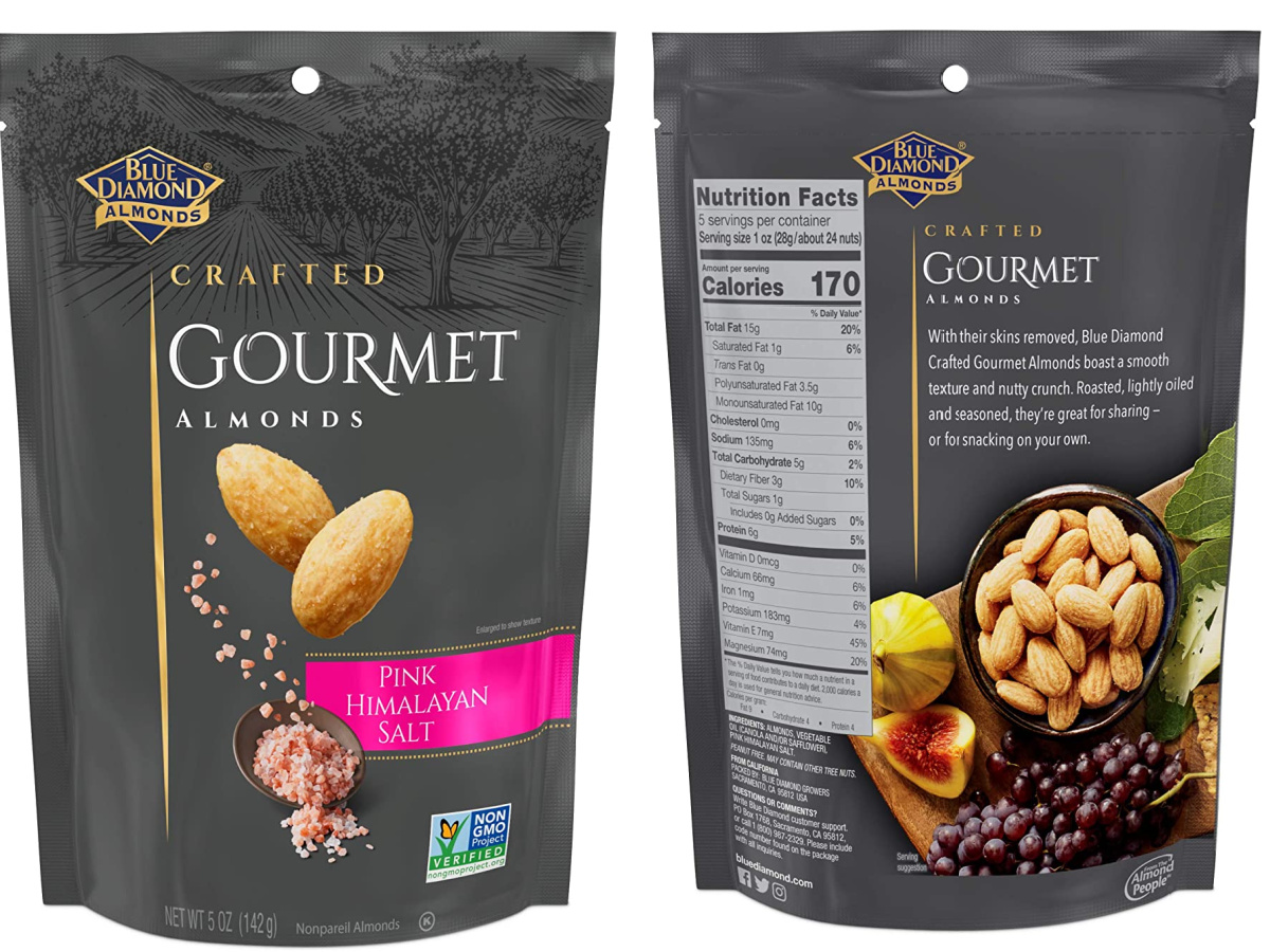 Front and back view of a bag of almonds