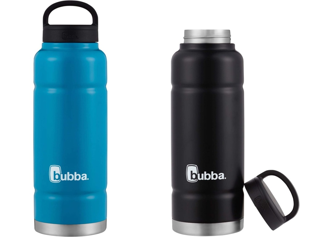blue insulate water bottle and black insulated water bottles with lid off
