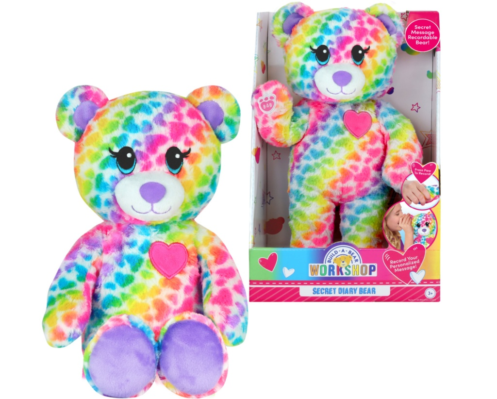 Plush rainbow bear in and out of package
