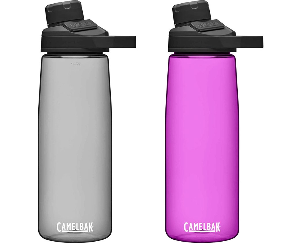 grey and purple colored camelbak water bottles
