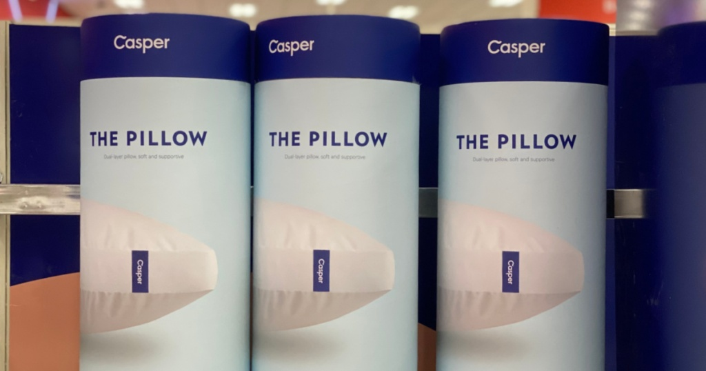 three pillows on shelf