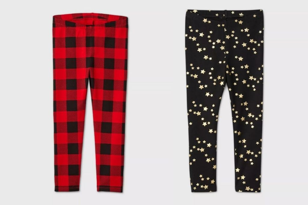 Red buffalo check and black with gold stars Cat & Jack LEggings