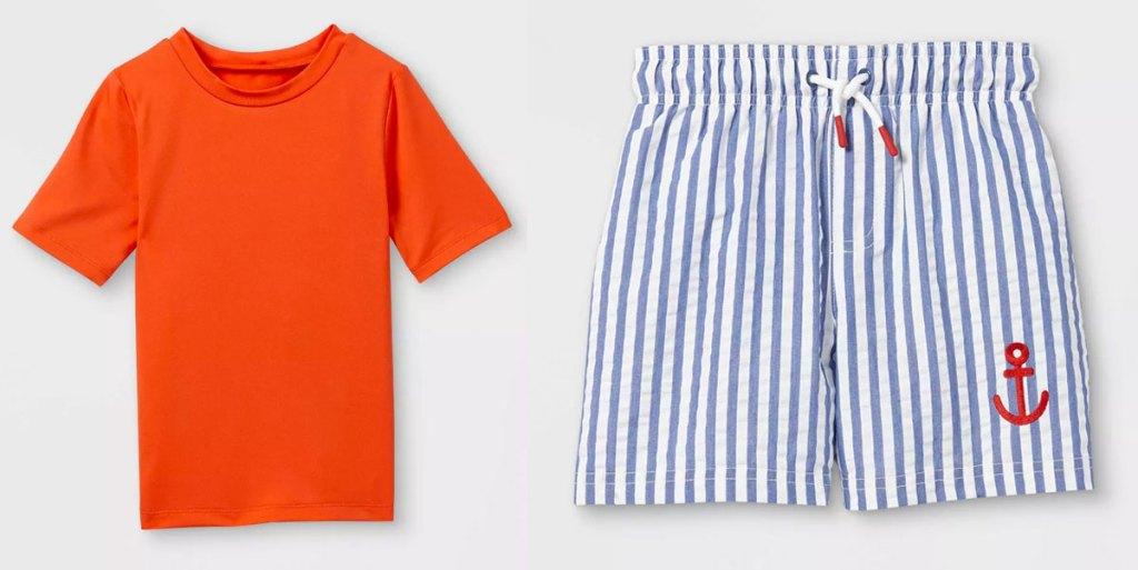 toddler boys orange rash guard and blue and white striped swim shorts