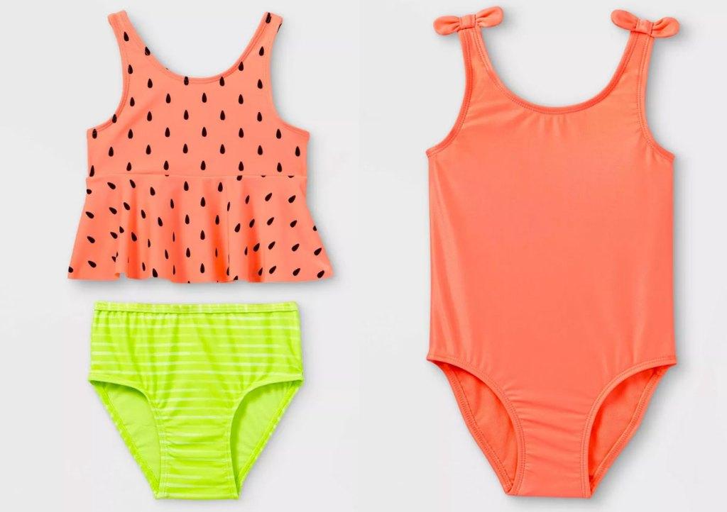 toddler girl watermelon print tankini set and orange one-piece bathing suit