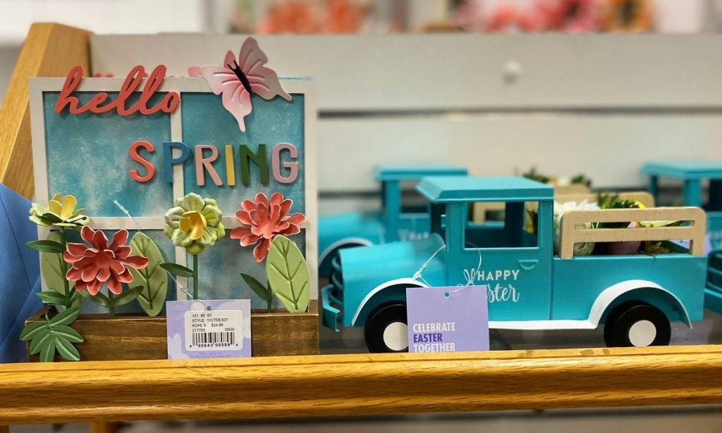 spring home decor on display at kohls