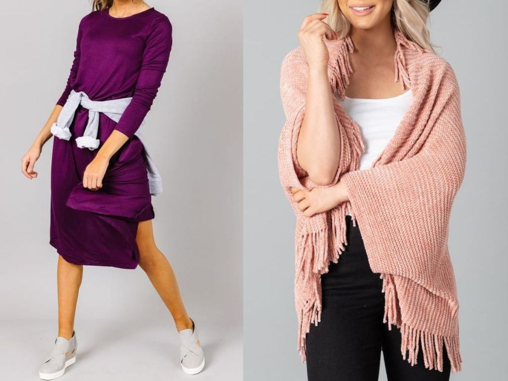 Cents of Style dress and Chenille Wrap