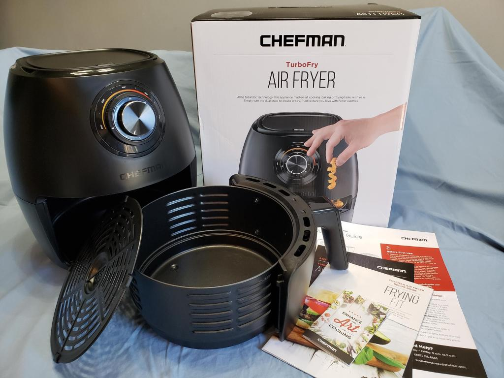 air fryer next to box and manual