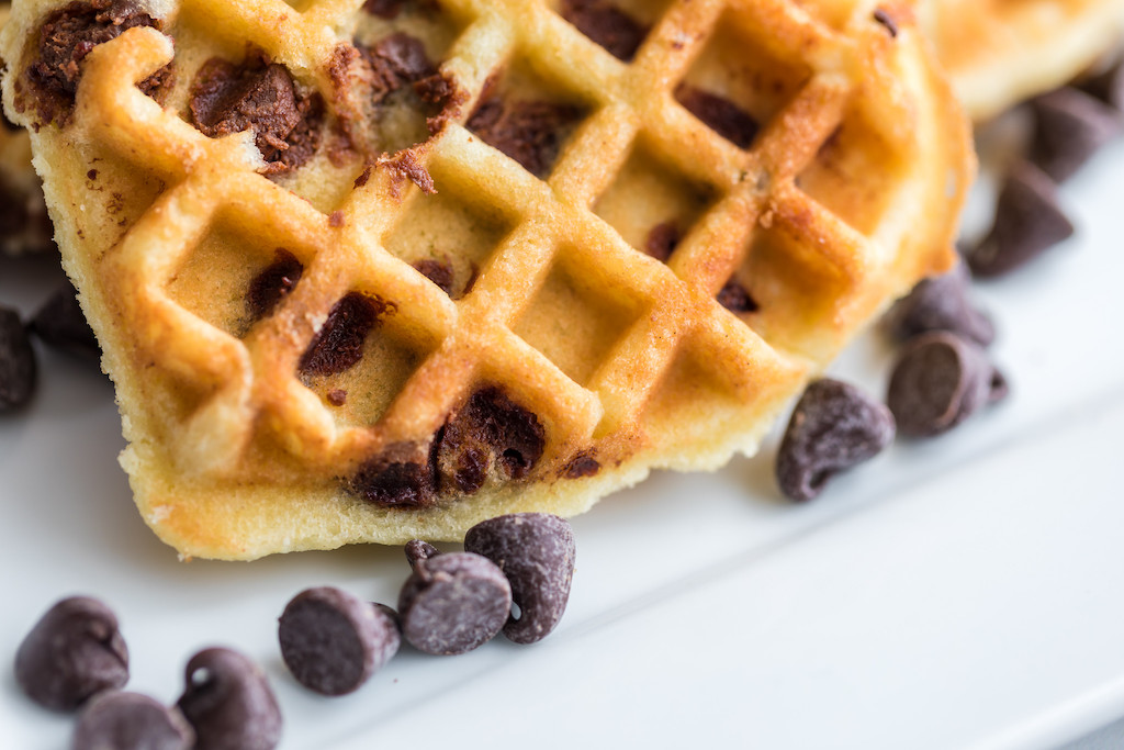 close up of chocolate chip cookie waffles