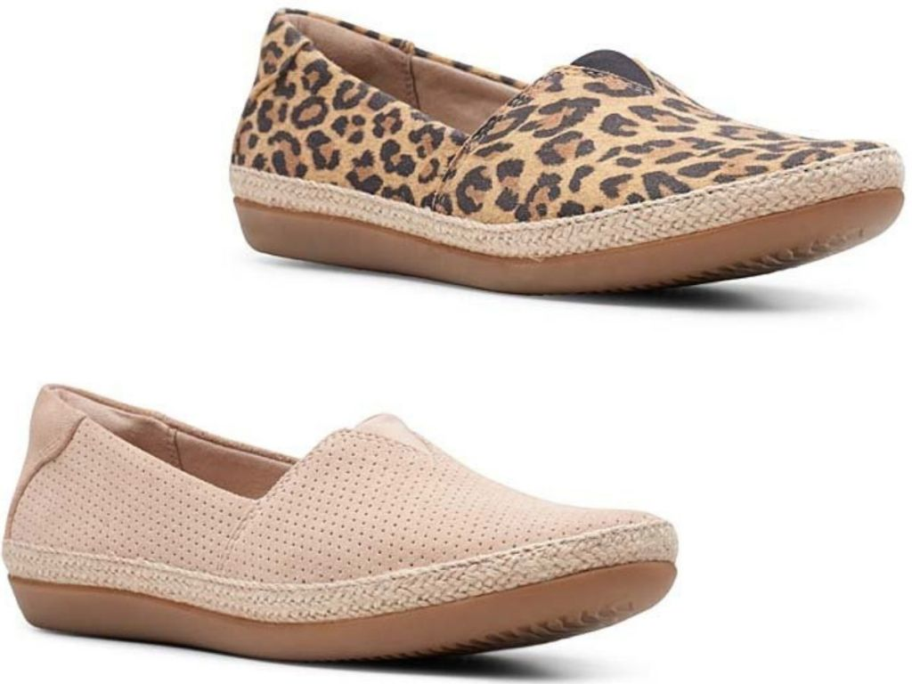 two Clarks women's slip on shoes