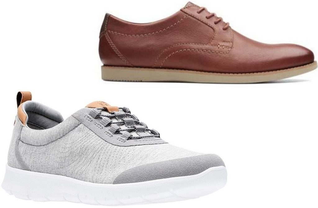 two Clarks shoes for women and men