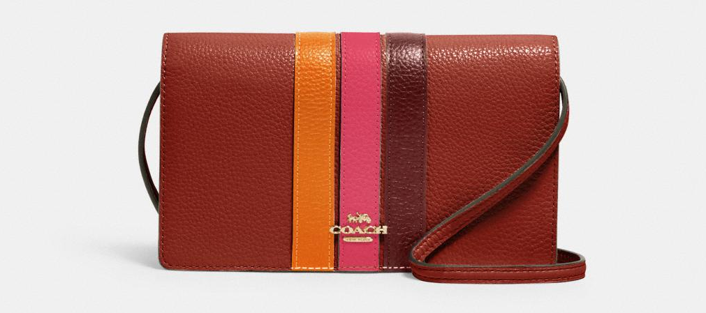 brown, pink and orange Coach crossbody