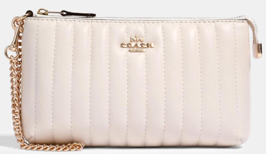 light pink Coach Large Wristlet With Linear Quilting