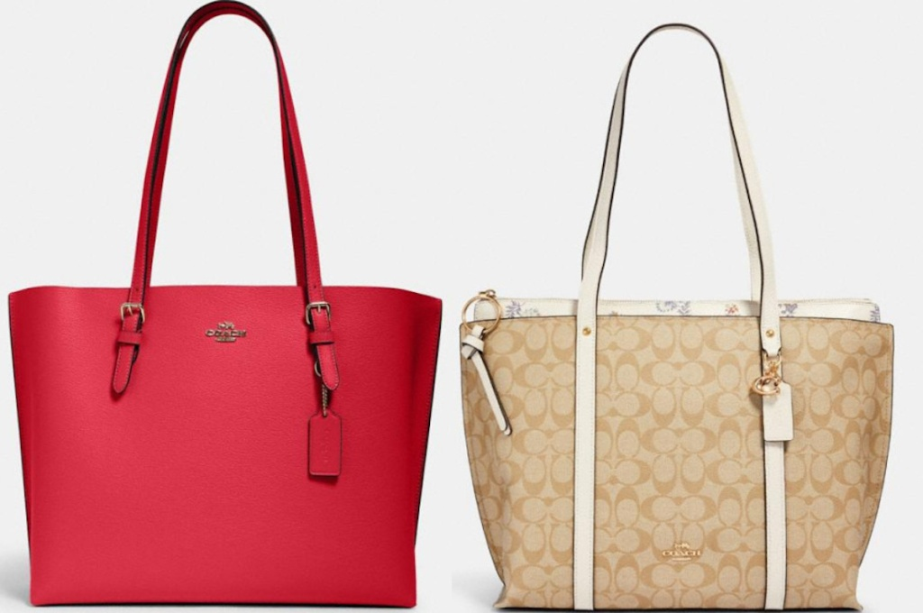 pink, tan and white coach totes