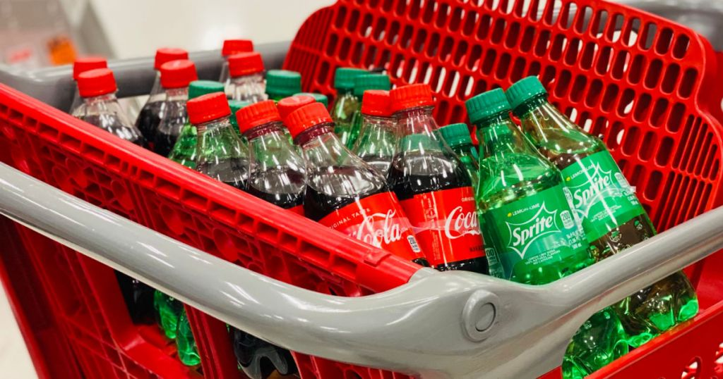 soda products in front of red cart