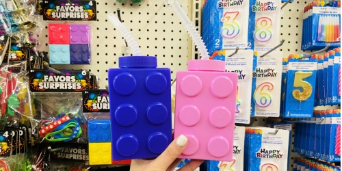 LEGO Shaped Water Bottles w/ Straws Only $1 at Dollar Tree | Fun Easter Basket Stuffer