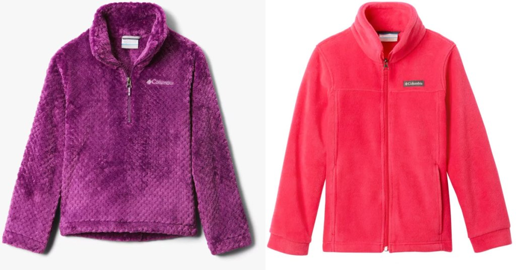 girls columbia fleece jackets in purple and hot pink colors