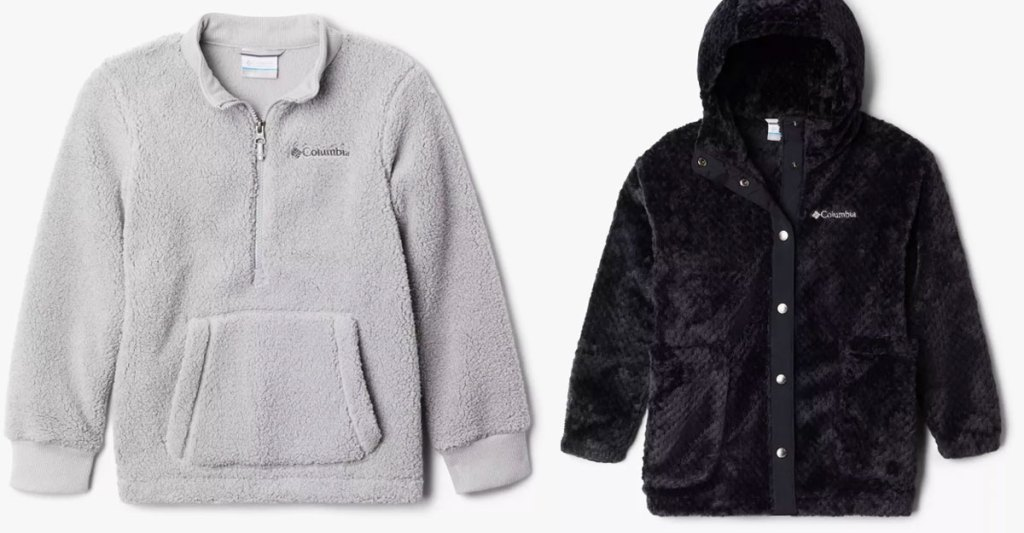 kids columbia fleece jackets in light grey and black colors