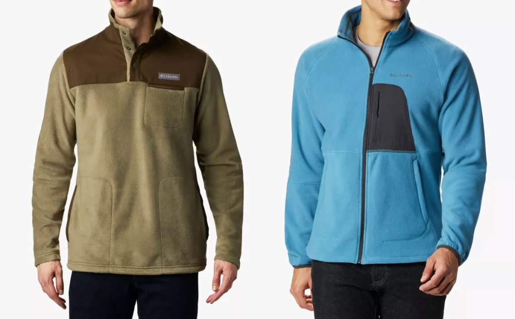 two men modeling columbia jackets in olive green and blue colors
