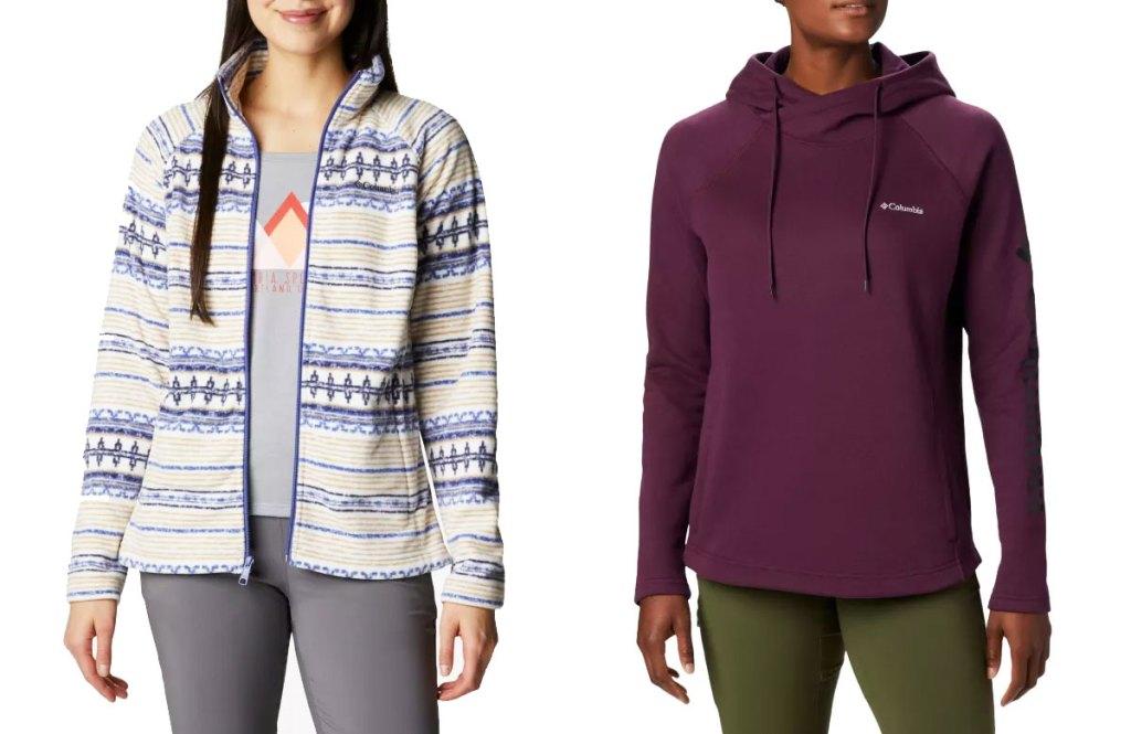 two women modeling columbia fleece jacket and hoodie