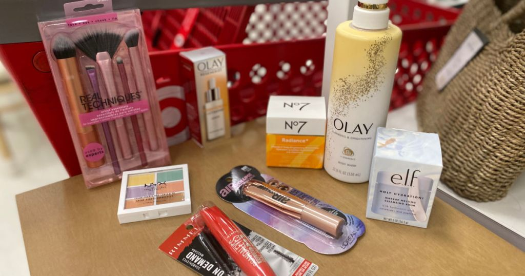 cosmetic and beauty products on shelf
