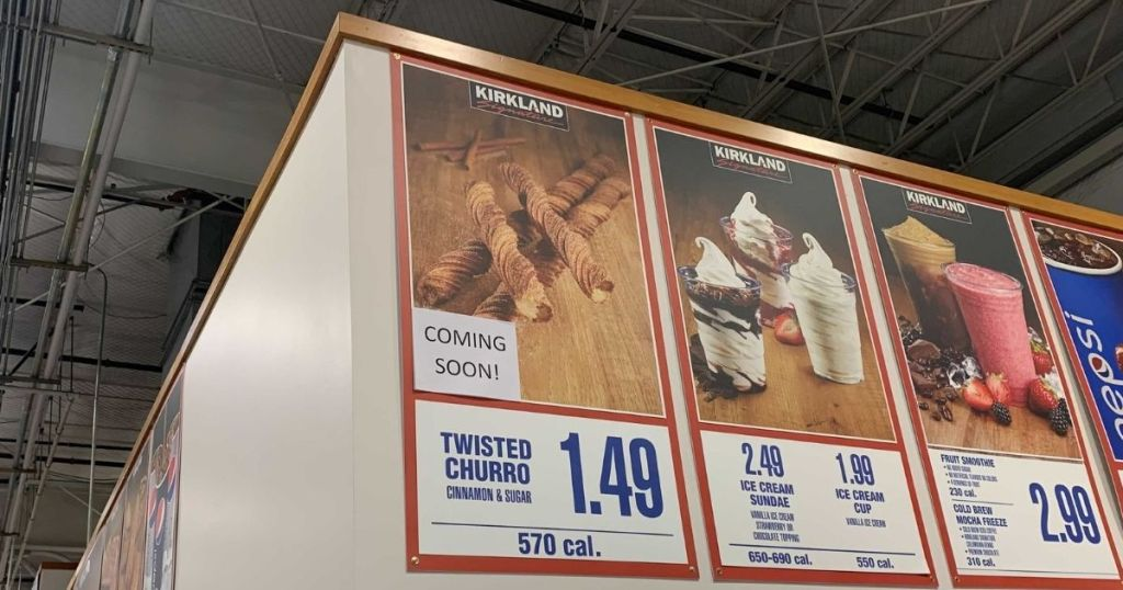 Costco Churros Sign at Store in Food Court