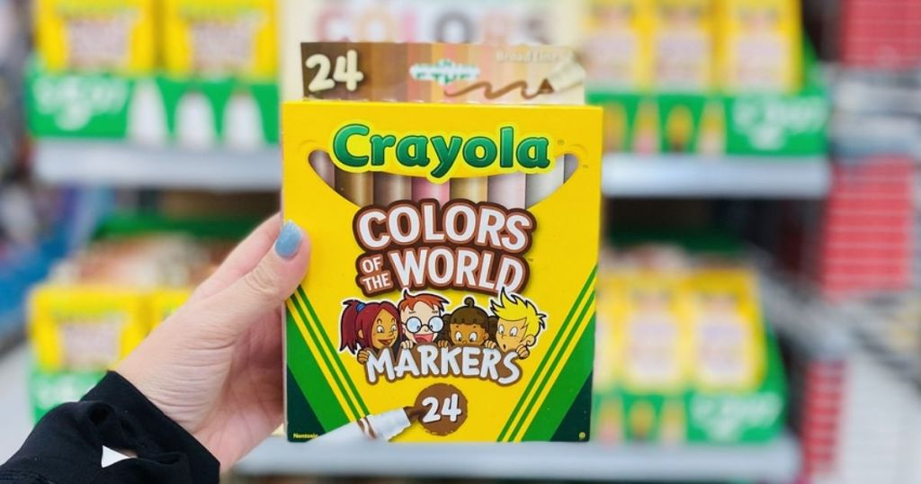 hand holding Crayola Colors of the World Markers
