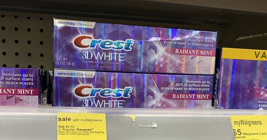 2 Crest 3D White Toothpastes on shelf