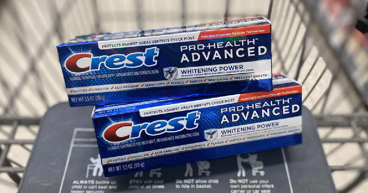two toothpastes in store cart