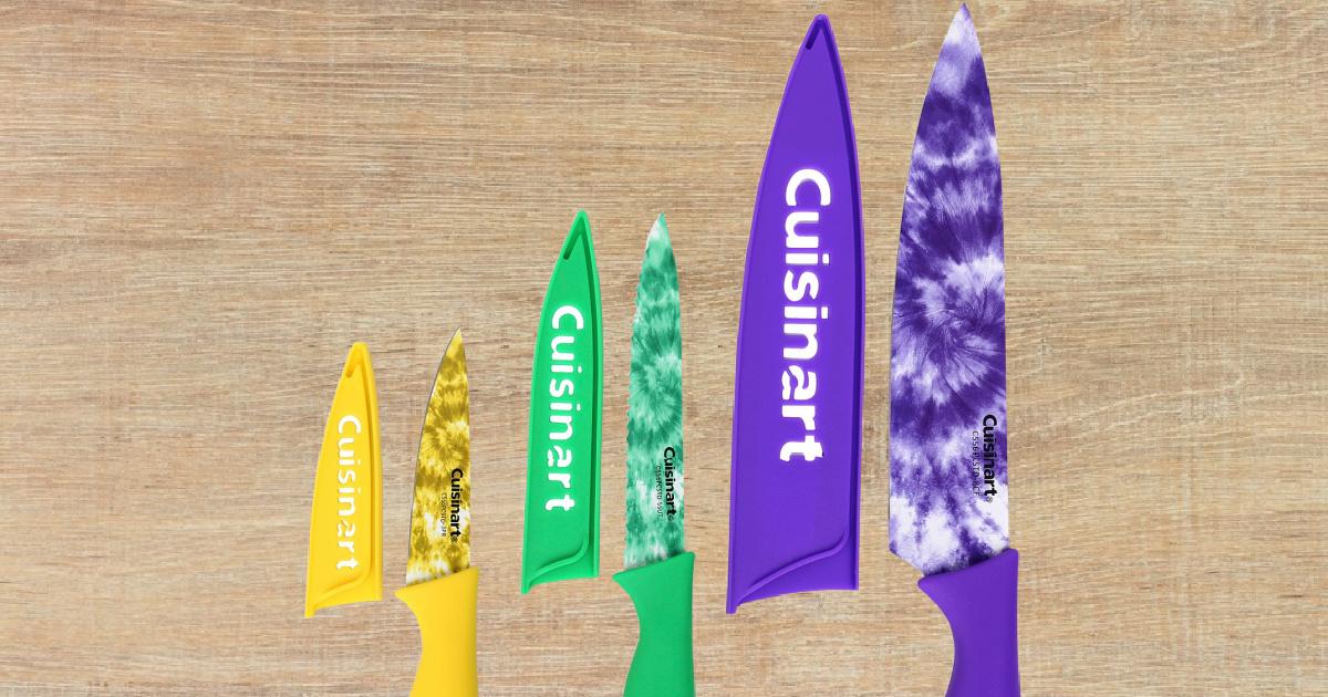 stock image of three tie dye cuisinart knives