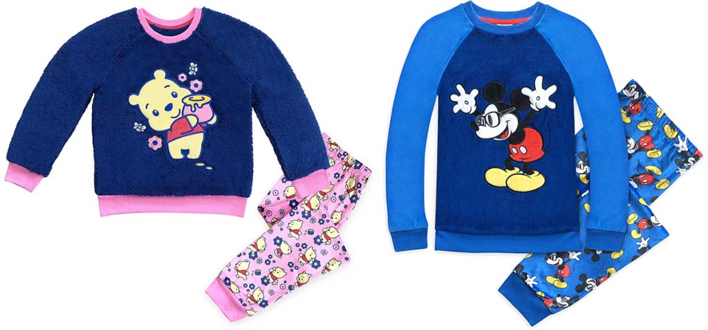 two sets of kids disney pajamas in winnie the pooh and mickey mouse