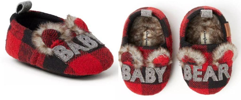 2 views of Dearfoams BAby Bear Slippers