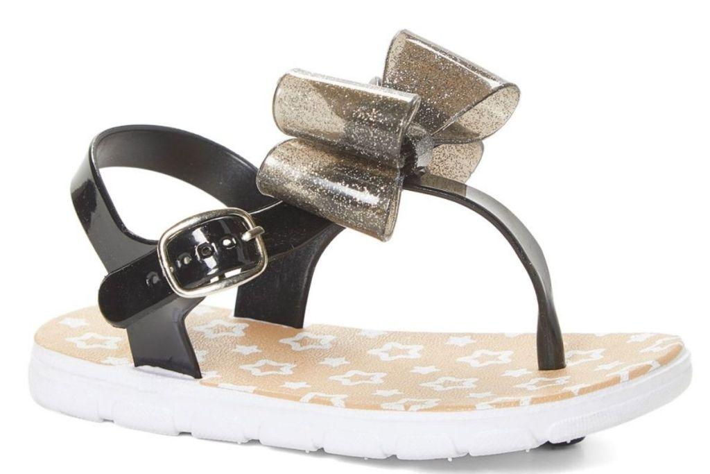 Delia's Girls Black Glitter Bow T-Strap Sandals