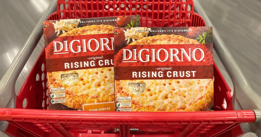 Digiorno Frozen Pizza in a target shopping cart