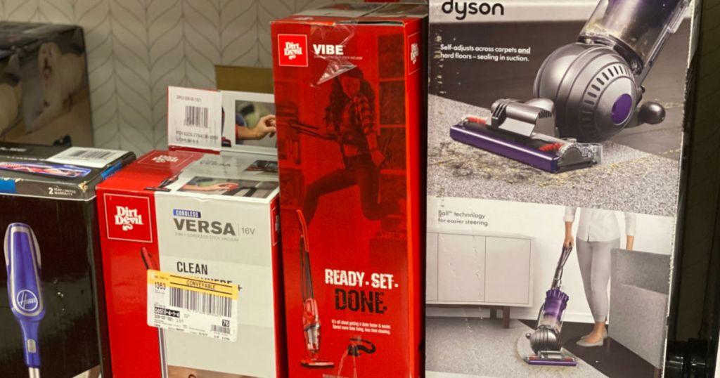 vacuums on shelf